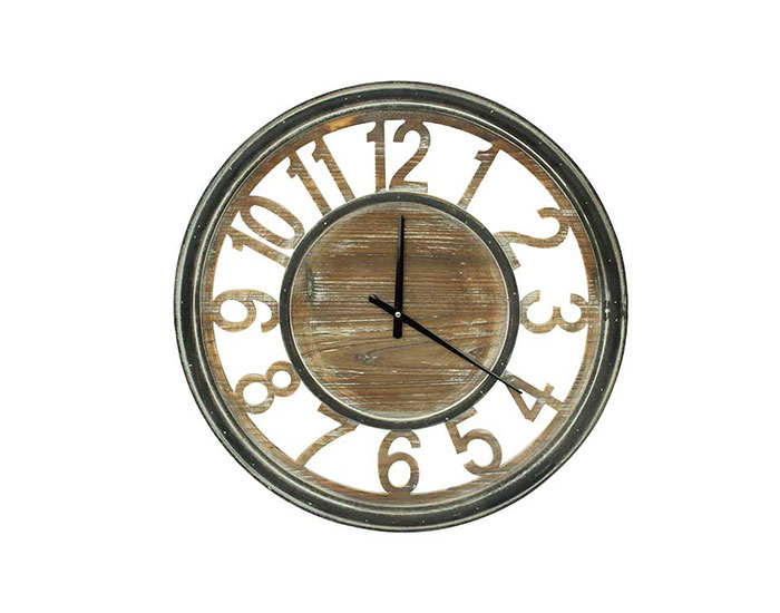 RELOJ DE PARED BRENT MADERA NOGAL (60×7cm)