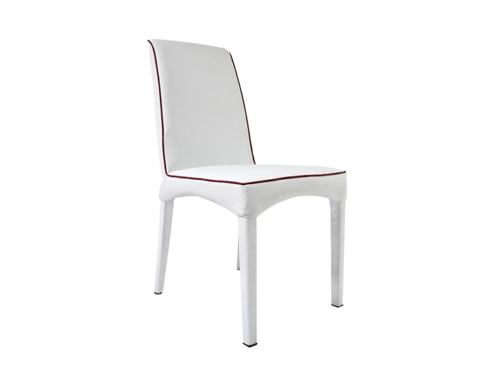 SILLA SORIA COLOR BLANCO PIEL BÚFALO CON BASE DE METAL (92×46×64cm)